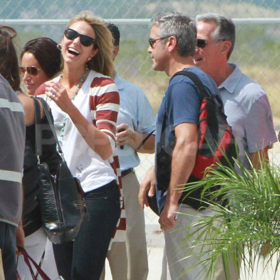 George Clooney made Stacy Keibler laugh in Mexico.