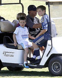 Cruz Beckham, Brooklyn Beckham, and Romeo Beckham rode around on a golf cart.