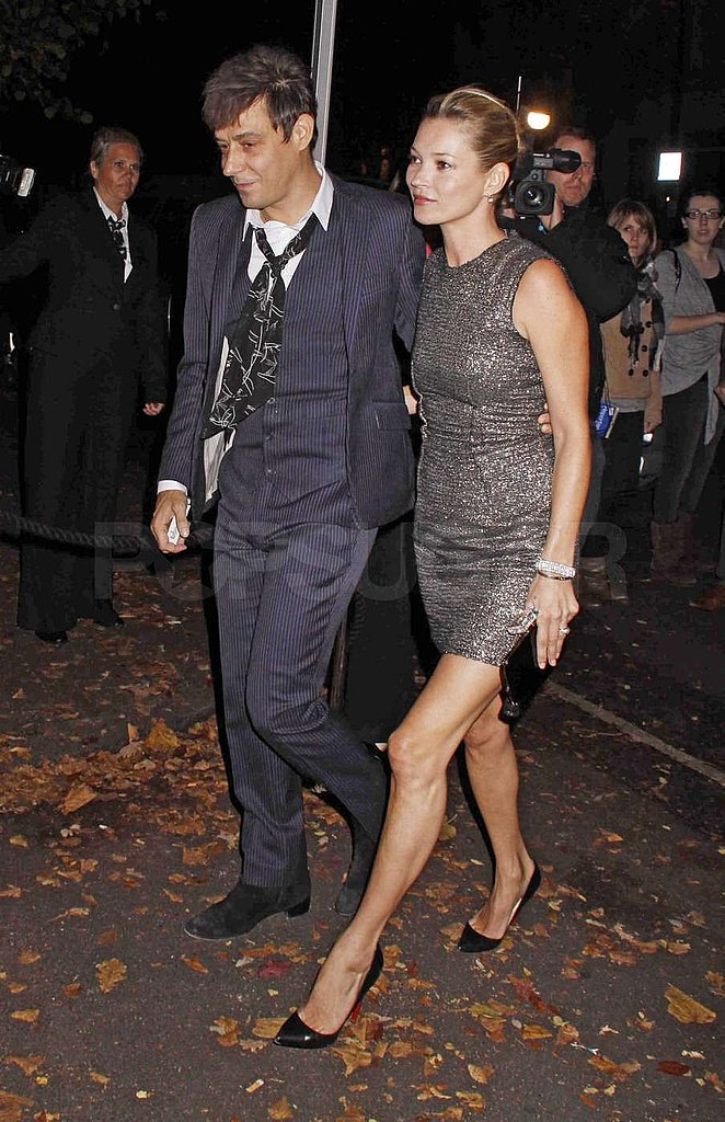 Kate Moss wore a sparkly sheath to attend the nuptials with Jamie Hince.