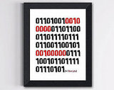 Binary Code Love Print ($15)
