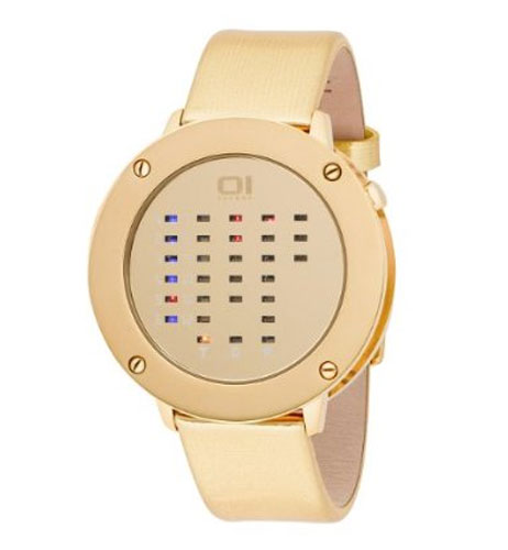 01TheOne Binary Gold Leather Watch ($220)