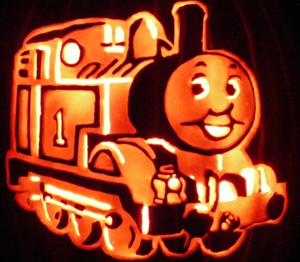 thomas pumpkin template jack o 39 lanterns with cartoon characters popsugar moms