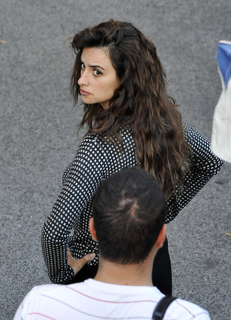 Penelope Cruz waited for the camera to start rolling on set.