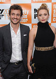 Hugh Dancy and Elizabeth Olsen stayed close on the red carpet.