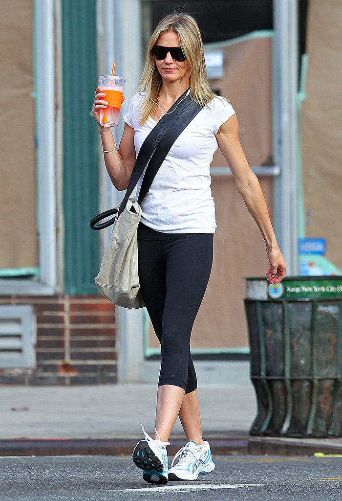 Cameron Diaz kept her headphones in while walking in NYC.