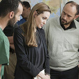 Angelina Jolie at a hospital in Libya.