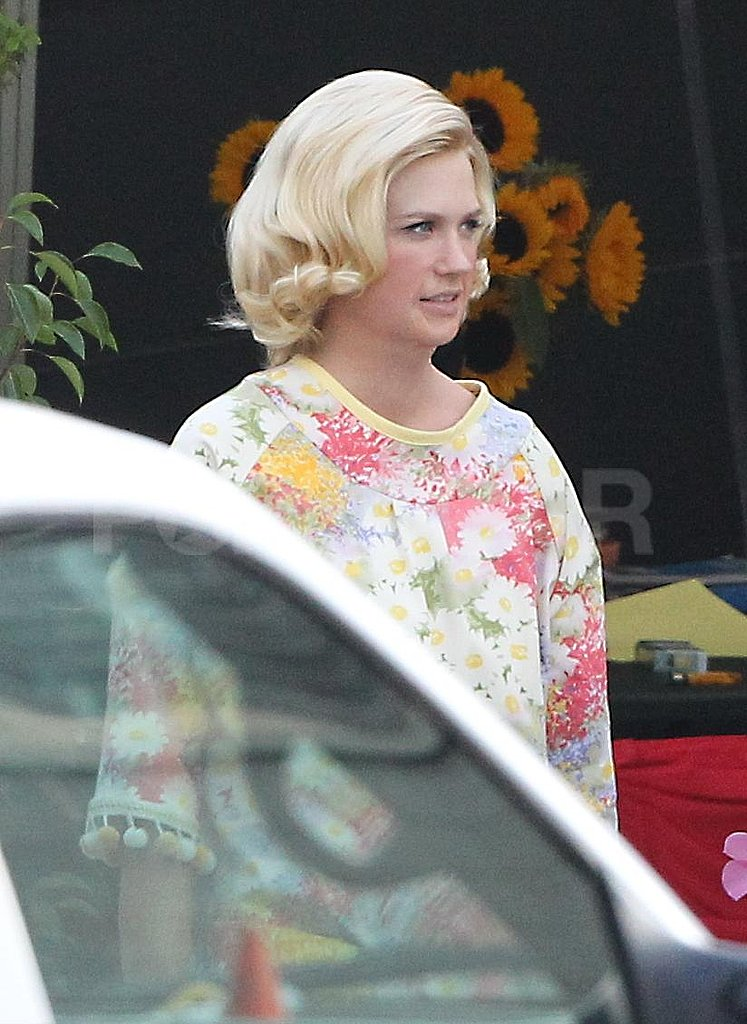 January Jones had her hair set to shoot scenes for Mad Men.