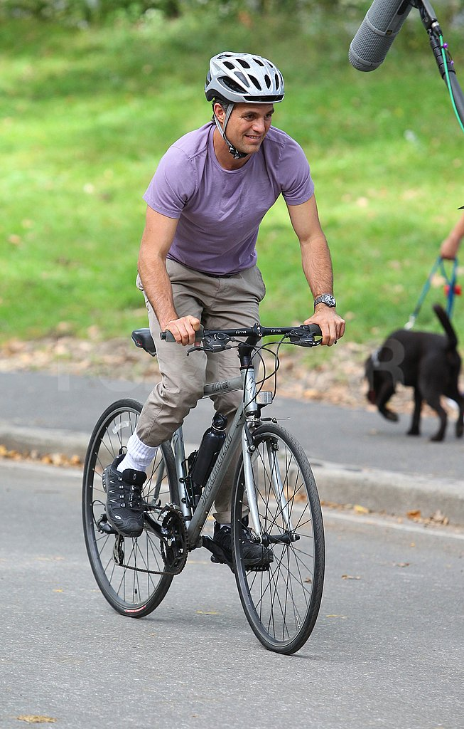 Mark Ruffalo rode a bike on the set of Thanks For Sharing in NYC.
