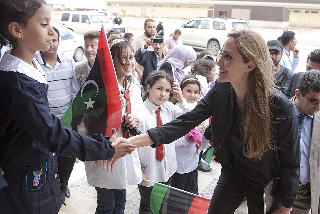 Angelina Jolie meets children in Libya.