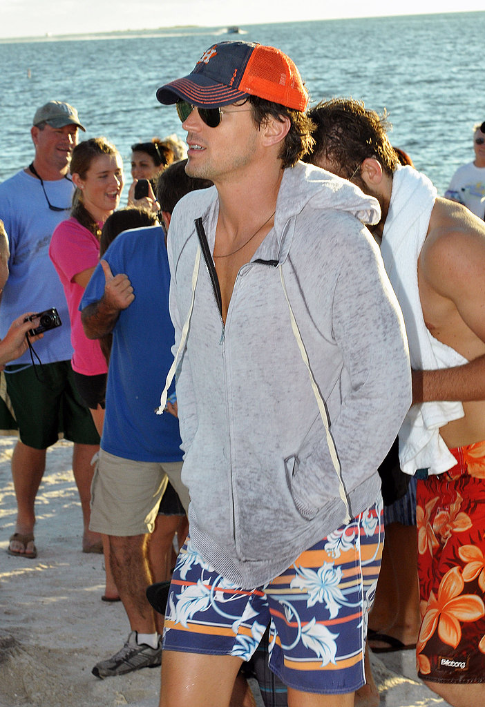 Matt Bomer arrived back on dry land following a day of shooting.