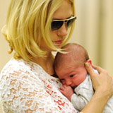 January Jones With Baby Xander (Video)