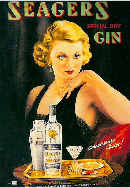 This 1935 postcard ad for Seagers features a glamorous gal.