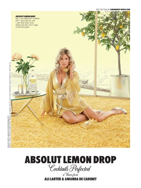 Modern ad makers channeled the retro feel of old ads for this Absolut Lemon Drop ad featuring Ali Larter as a citrusy sex kitten.