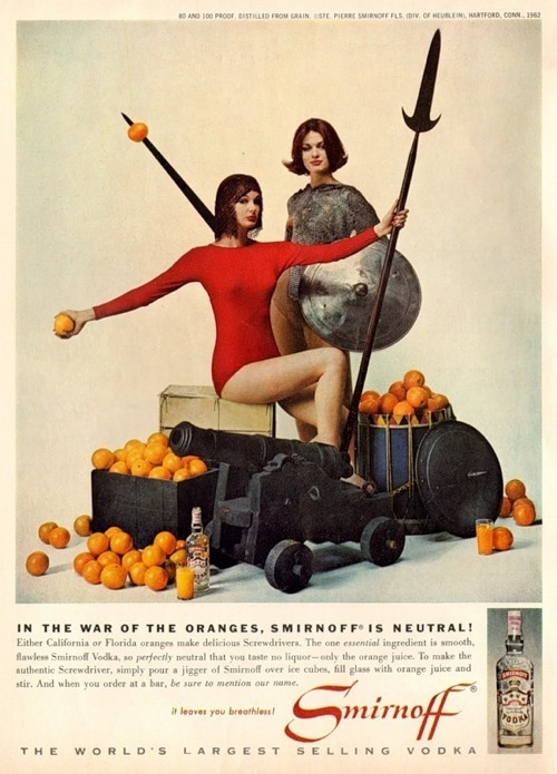 Smirnoff was neutral on the topic of California vs. Florida oranges. This  1963 ad says they both make great screwdrivers.