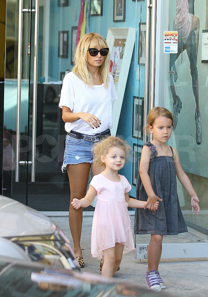 Nicole Richie wore cut off shorts on her ice cream run.