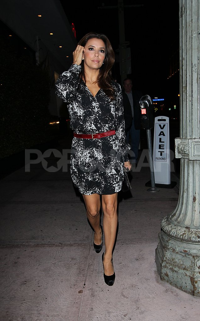 Eva Longoria in a printed dress.