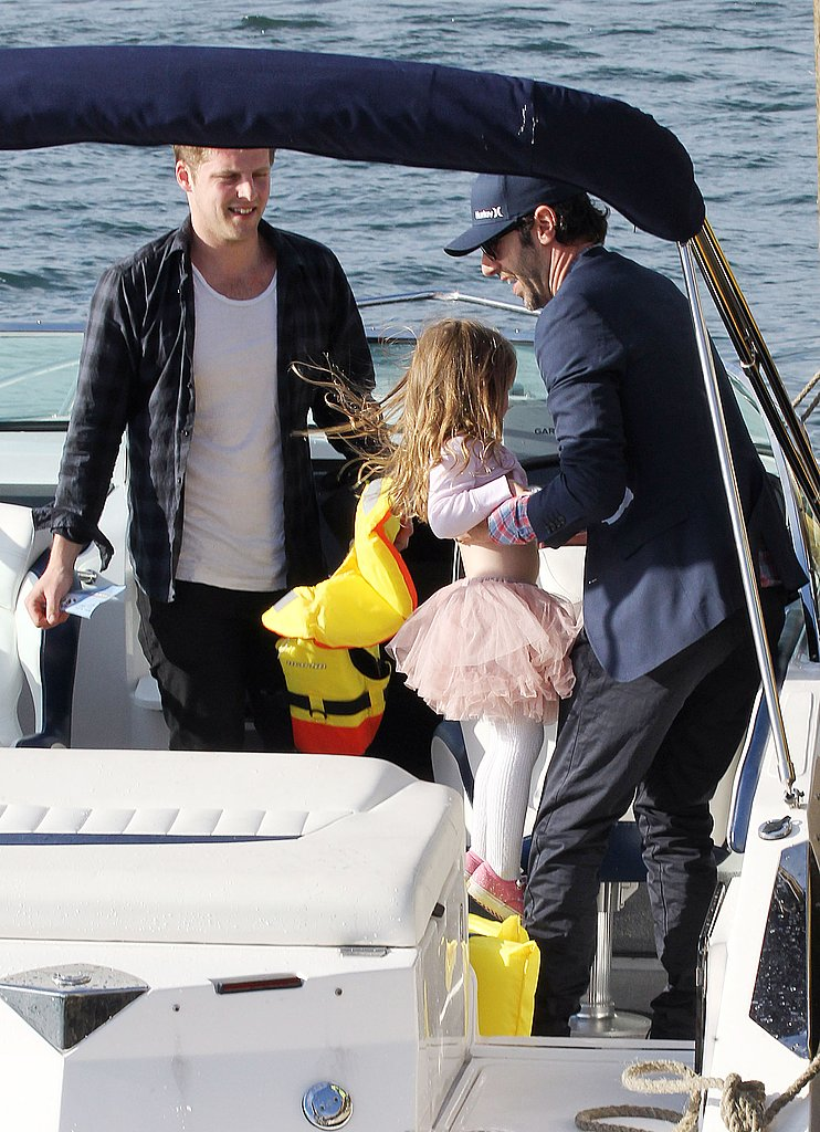 On his birthday, Sacha Baron Cohen helped his daughter, Olive Cohen, onto a boat in Sydney.