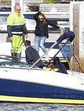 Isla Fisher hopped on a boat in Sydney.