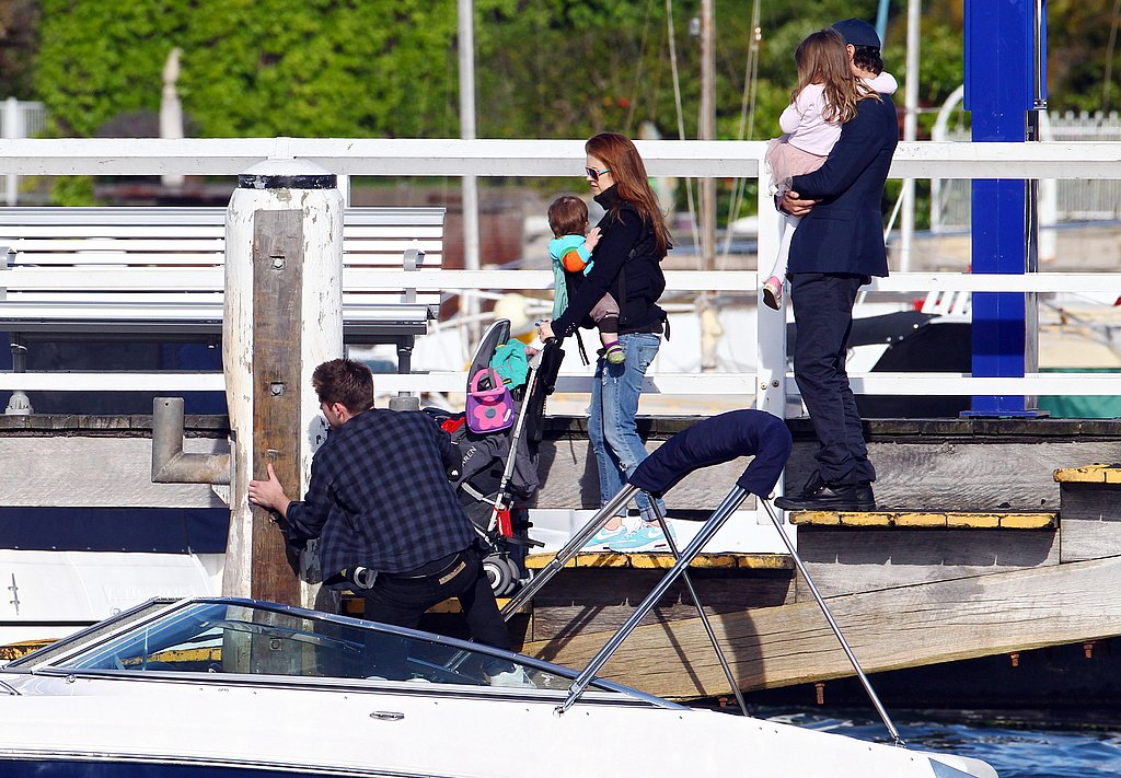 Isla Fisher, Sacha Baron Cohen, Elula Cohen, and Olive Cohen boarded a boat in Sydney.
