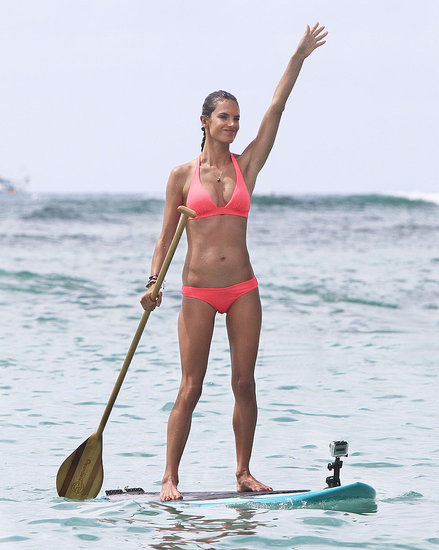 Alessandra Ambrosio Breaks Out a Bright Bikini to Paddle Board in Hawaii