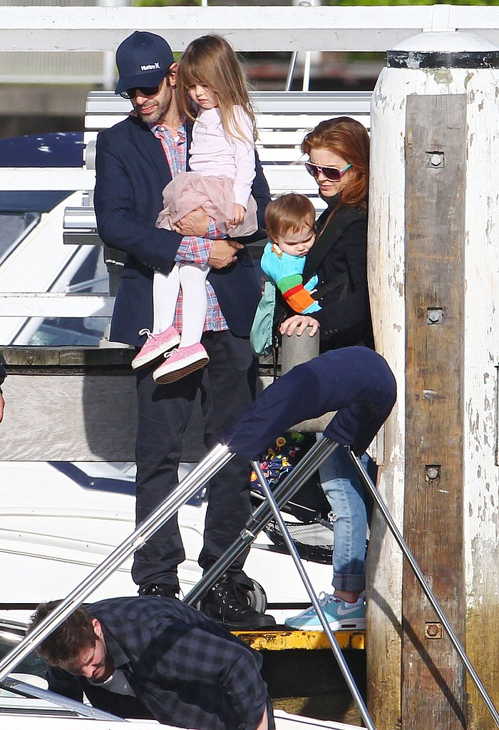 Isla Fisher, Sacha Baron Cohen, Elula Cohen, and Olive Cohen hopped onto a boat during his 40th birthday.