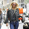 Gwyneth Paltrow Wearing Leather Jacket in NYC Pictures