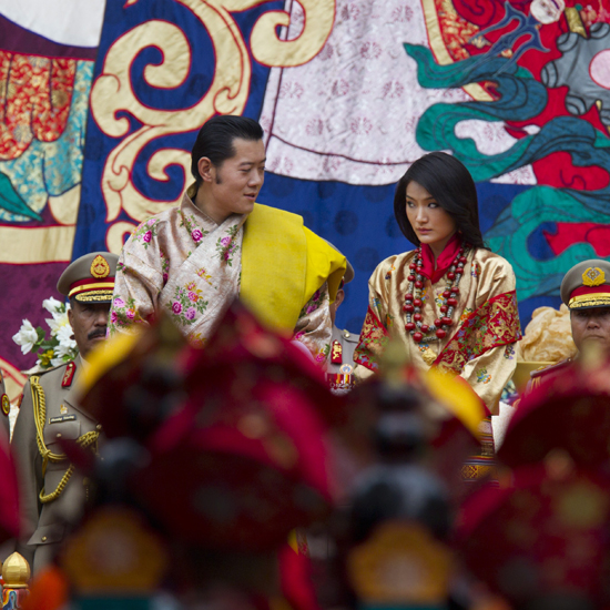 King Jigme Khesar Namgyel Wangchuck looks at his wife, Queen Ashi Jetsun Pema, during the purification marriage ceremony.
