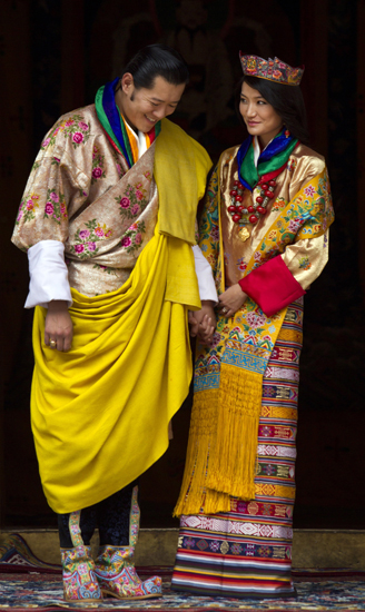Newly married King Jigme Khesar Namgyel Wangchuck and Queen Ashi Jetsun Pema share a sweet moment.