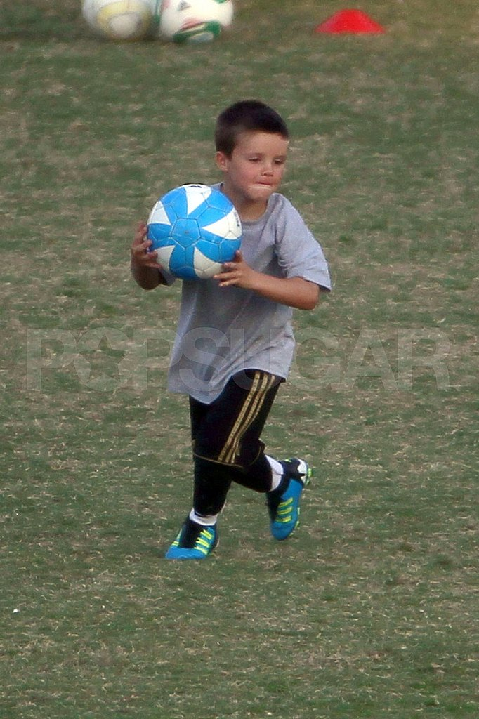 Cruz Beckham was too cute with a soccer ball.