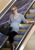 Hilary Duff rode an escalator at LAX.