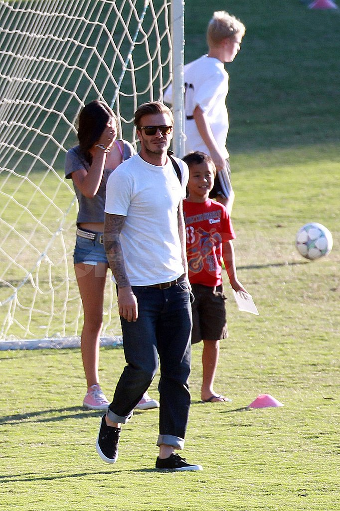 David Beckham on a soccer field in LA.
