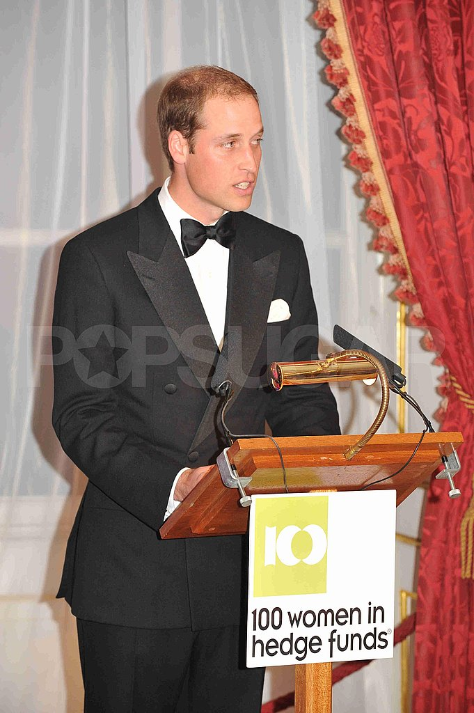 Prince William speaks at the 100 Women in Hedge Funds charity dinner.