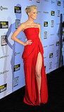 Amber Heard wore a show-stopping red dress.
