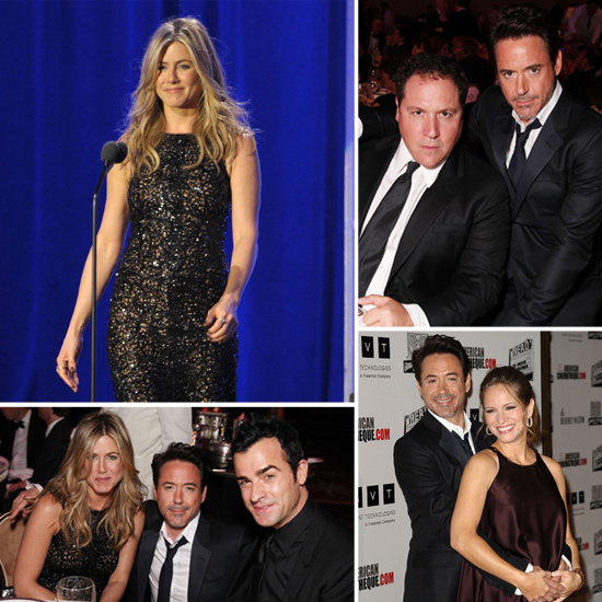 Jennifer Aniston Wears a Sexy LBD For a Night Out With Justin Theroux and Robert Downey Jr.