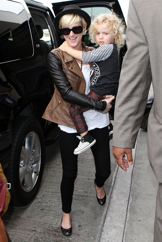 Ashlee Simpson and Bronx Wentz at LAX.