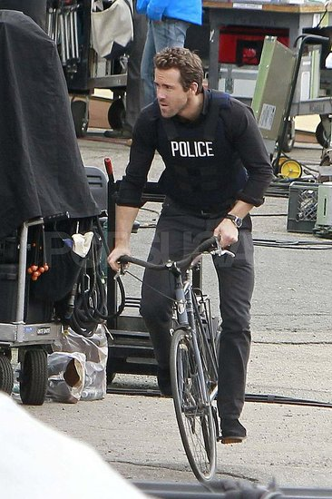 Ryan Reynolds filming R.I.P.D. in Boston.