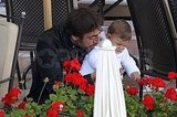 Javier Bardem and Leo Bardem stopped to smell the flowers.