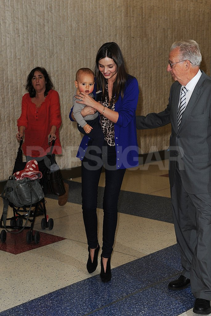 Miranda Kerr and Flynn Bloom arrived in NYC.