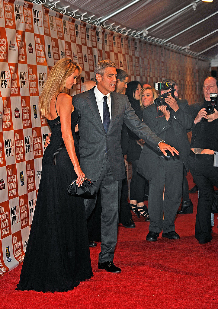 George Clooney and Stacy Keibler paused for photographs in NYC.