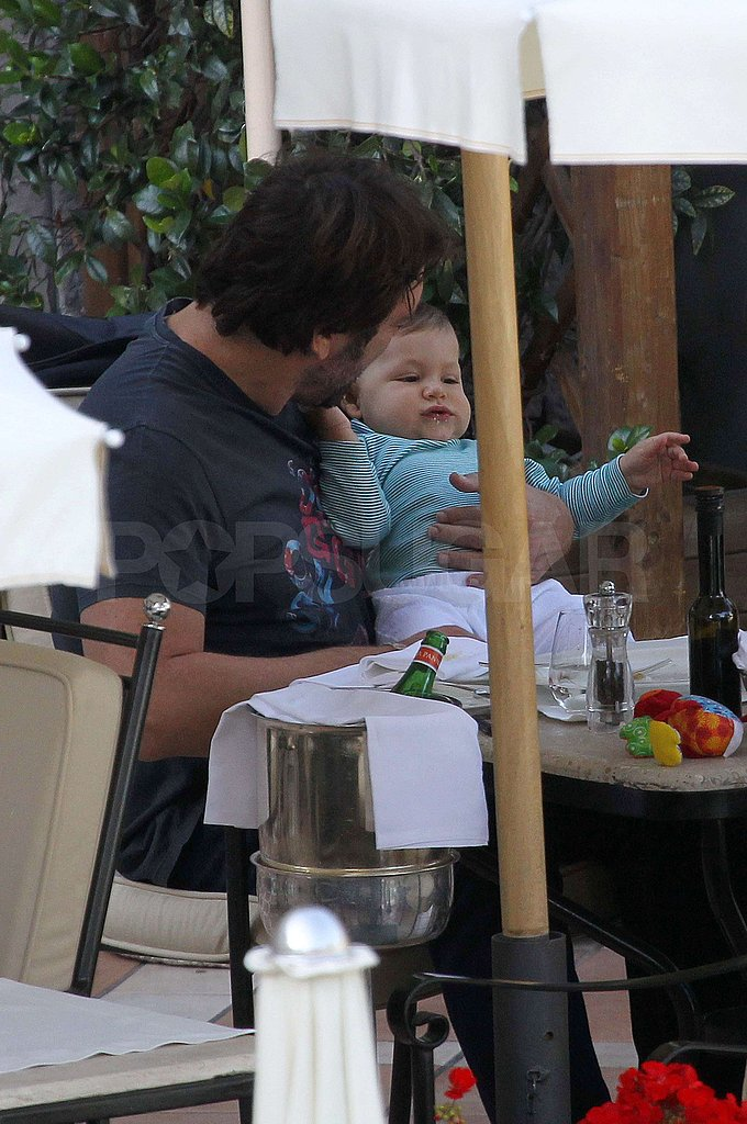 Leo Bardem sat in his dad Javier Bardem's lap.