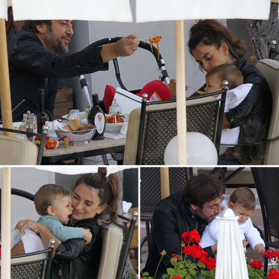 Penelope and Javier Take Little Leo Out For Lunch in Italy