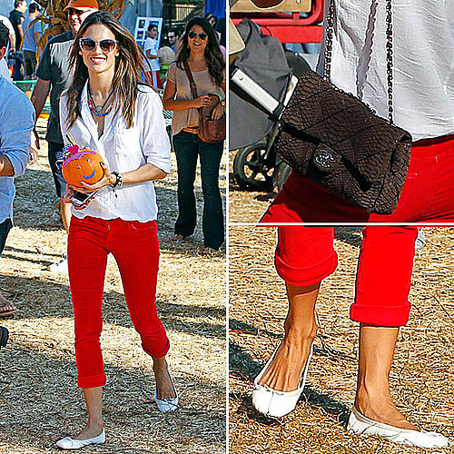 Celeb Style: Alessandra Ambrosio&#039;s Pumpkin Patch Outfit 