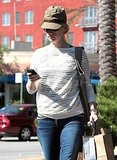 January Jones checks her phone in LA.