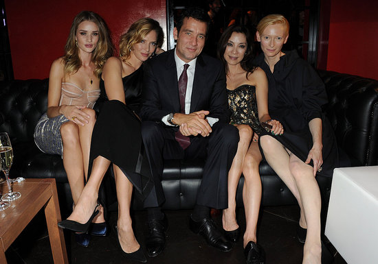 Rosie Huntington-Whiteley, Uma Thurman, Clive Owen, Michelle Yeoh, and Tilda Swinton hung out at a party in Milan.