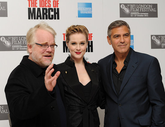 George Clooney, Evan Rachel Wood, and Philip Seymour Hoffman promote The Ides of March in London.
