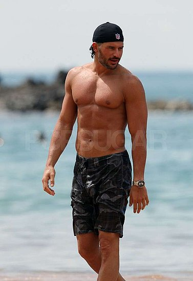 Joe Manganiello wore camo swim trunks in the water.