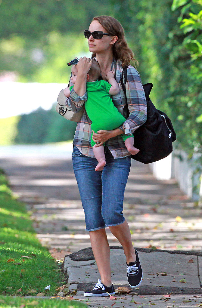 Natalie Portman wore cutoffs as she cradled Aleph Millepied.