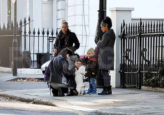 Uncle Monty, Daisy Lowe's dog, was the center of attention for Kingston Rossdale and Zuma Rossdale in London.