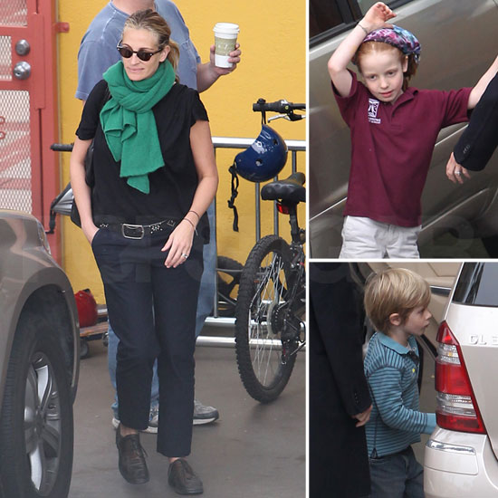 Julia Roberts Is on the Go With Phinneaus, Hazel, and Henry Ahead of Her Birthday