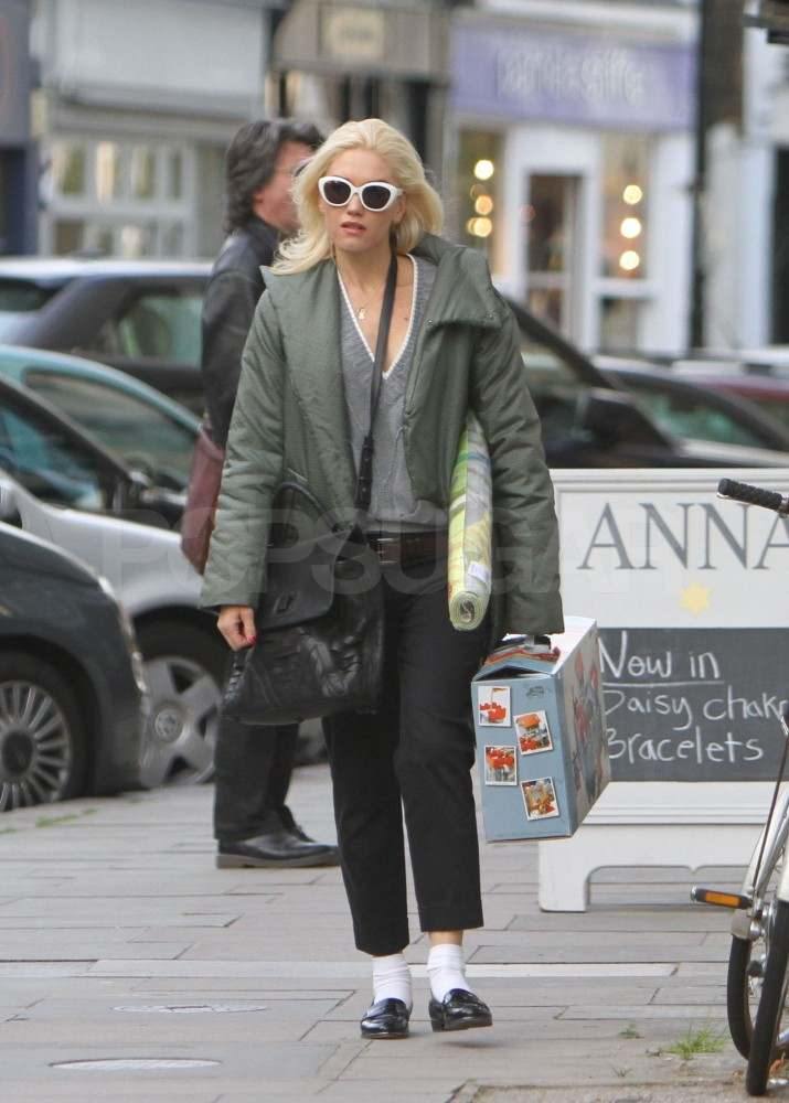 Gwen Stefani wearing white sunglasses in London.